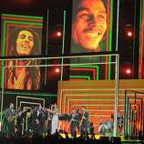 Rihanna, Bruno Mars, Sting, Ziggy and Stephen and Damian Marley perform in tribute to Bob Marley on stage at the Staples Center during the 55th Grammy Awards in Los Angeles, California, February 10, 2013. AFP PHOTO Joe KLAMARJOE KLAMAR/AFP/Getty Images