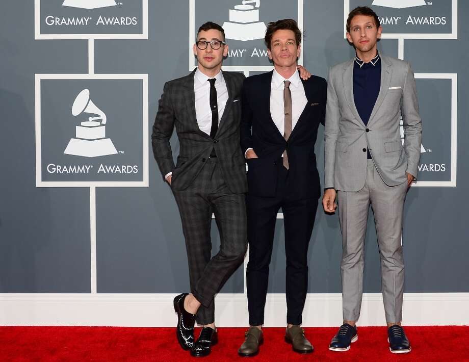 Nominees for Album of the Year, Best New Artist, Best Pop Duo and and Best Pop Vocal Album Fun. arrive on the red carpet at the Staples Center for the 55th Grammy Awards in Los Angeles, California, February 10, 2013. AFP PHOTO Frederic J. BROWN Photo: FREDERIC J. BROWN, AFP/Getty Images / AFP