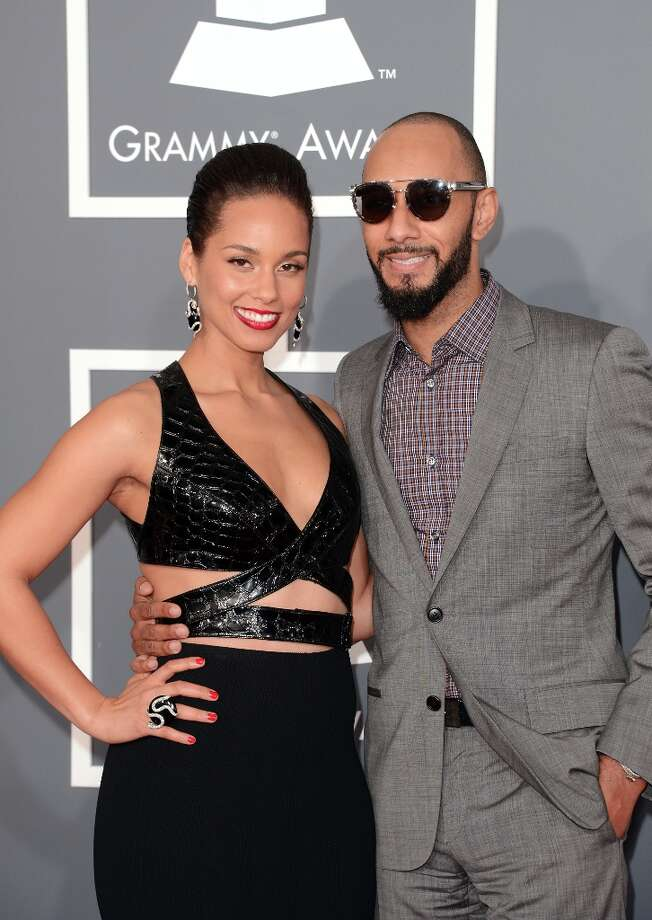 Singer Alicia Keys (L) and producer Swizz Beatz arrive at the 55th Annual GRAMMY Awards at Staples Center on February 10, 2013 in Los Angeles, California. Photo: Jason Merritt, Getty Images / 2013 Getty Images