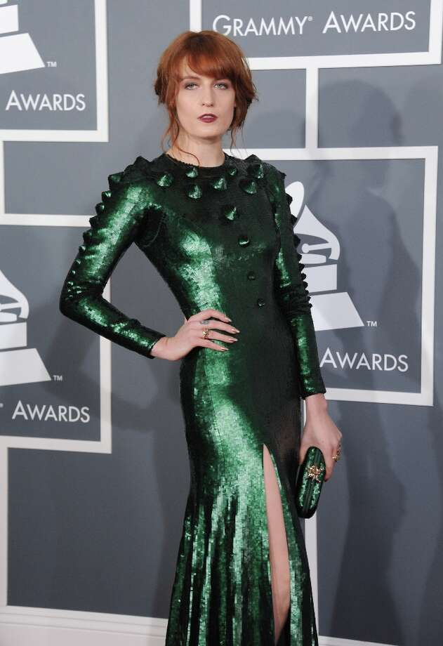 Florence Welch, of Florence and the Machine, arrives at the 55th annual Grammy Awards on Sunday, Feb. 10, 2013, in Los Angeles.  (Photo by Jordan Strauss/Invision/AP) Photo: Jordan Strauss, Associated Press / Invision