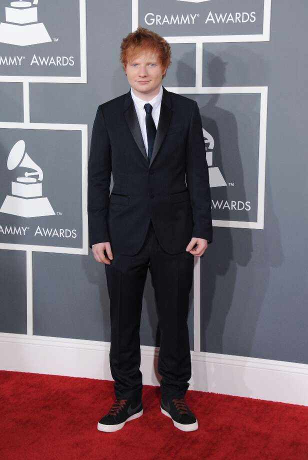 Musician Ed Sheeran arrives at the 55th annual Grammy Awards on Sunday, Feb. 10, 2013, in Los Angeles.  (Photo by Jordan Strauss/Invision/AP) Photo: Jordan Strauss, Associated Press / Invision