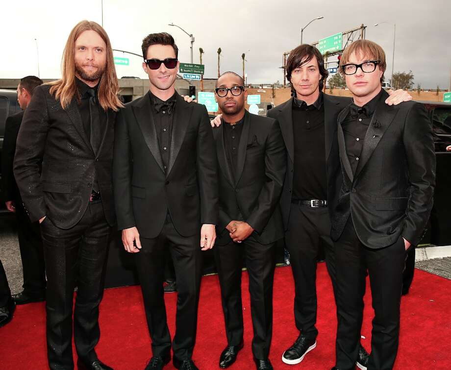 Maroon 5 band members James Valentine, Adam Levine, PJ Morton, Matt Flynn and Mickey Madden arrive at the 55th Annual GRAMMY Awards on February 10, 2013 in Los Angeles, California. Photo: Christopher Polk, Getty Images For NARAS / 2013 Getty Images