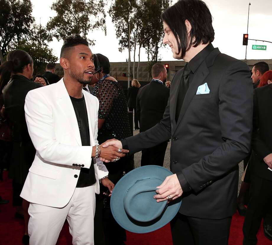 Miguel and Jack White arrive at the 55th Annual GRAMMY Awards on February 10, 2013 in Los Angeles, California. Photo: Christopher Polk, Getty Images For NARAS / 2013 Getty Images
