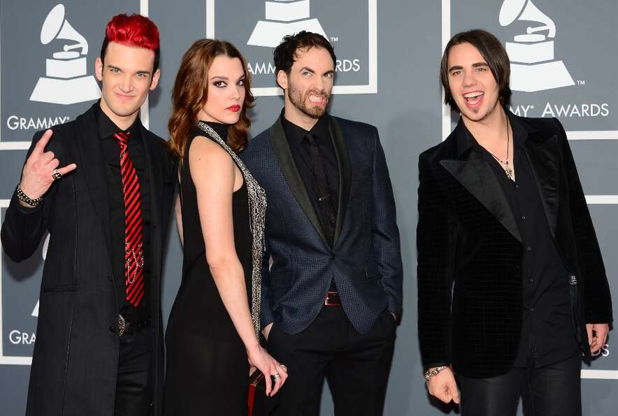 Nominee for Best Hard Rock/Metal Performance the group Halestorm arrives on the red carpet at the St