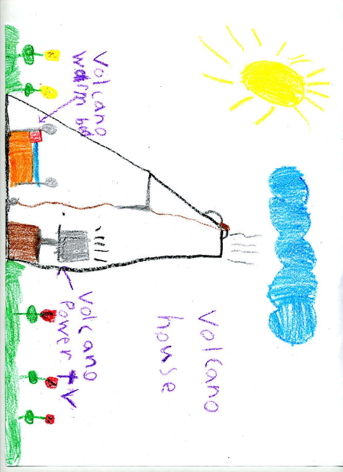 Haechan Kim, a first-grader at Arongen Elementary, drew this cute volcano-powered house.