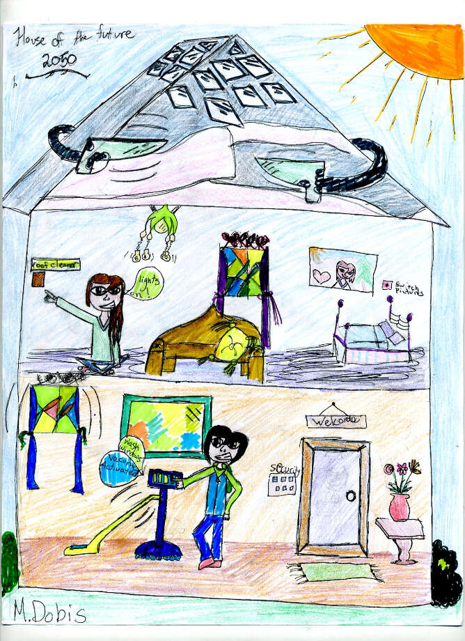 Mia Dobis, a fourth grader from Skano Elementary School, included a list of technologies she thinks will be used in the house of the future: automatic roof cleaners, robots to clean, picture switching (maybe Mia is a Harry Potter fan?), an advanced security system, automatic window cleaners, voice-controlled lights and solar panels.