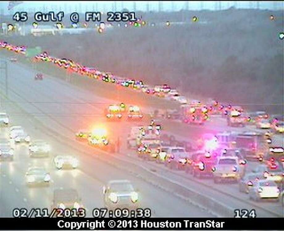 Portions of the Gulf Freeway near Clear Lake Blvd. were blocked after a traffic crash during rush hour Monday morning. Photo: Houston Transtar