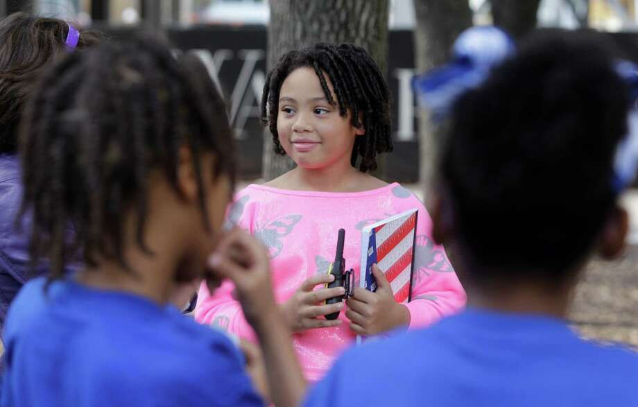 Victoria Baynes Lopez, 10,  speaks to participants during an anti-bullying rally at the Gerald D. Hines Waterwall Park,  2800 Post Oak Blvd., Wednesday, Jan. 23, 2013, in Houston. Photo: Melissa Phillip, Houston Chronicle / © 2013 Houston Chronicle