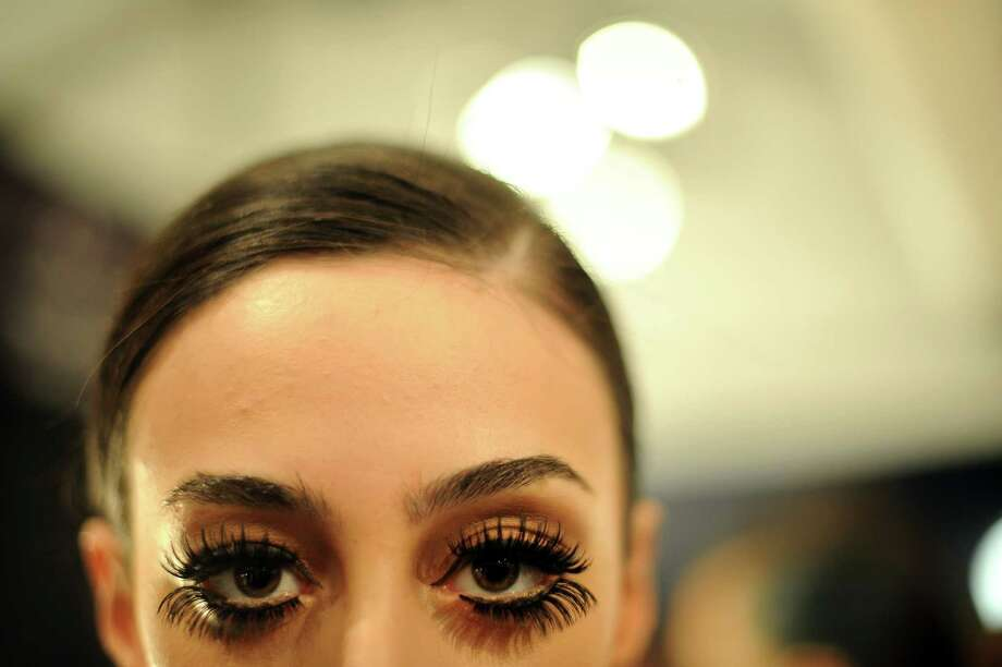 A model backstage during the Czar presentation by Cesar Galindo during Mercedes-Benz Fashion Week at Lincoln Center in New York, Feb. 8, 2013. Photo: JENNIFER S. ALTMAN, New York Times / NYTNS