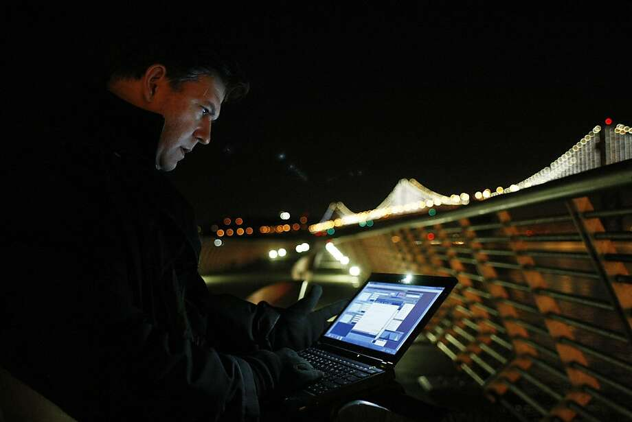 Leo Villareal is using 25,000 lights for the bridge's Grand Lighting on Tuesday. Photo: James Tensuan, The Chronicle