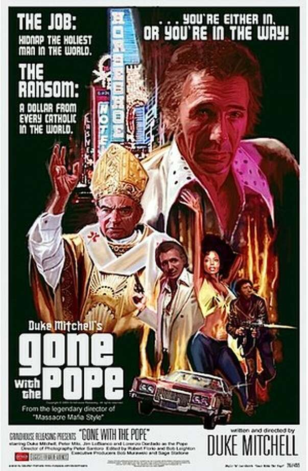 GONE WITH THE POPE [AKA: Kiss the Ring] (2010) - This independent crime drama was actually shot in 1976 by Duke 'King of Palm Springs' Mitchell, a comedian/crooner/actor who served as star, director, writer and producer here. The movie, finally released by Sage Stallone's Grindhouse Releasing, chronicles the exploits of four ex-cons who travel to Rome to kidnap the pope and charge a ransom of one dollar for each of the world's Catholics.