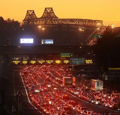 Traffic backs up on the Bay Bridge approach in Oakland after a bridgework failure Tuesday. Photo: Noah Berger, Special To The Chronicle