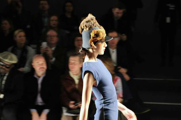 A model walks the runway at the CZAR by Cesar Galindo Fall 2013 fashion show during Mercedes-Benz Fashion Week at The Studio at Lincoln Center on February 8, 2013 in New York City. Photo: Craig Barritt, (Credit Too Long, See Caption) / 2013 Getty Images