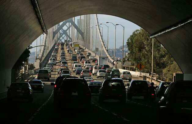 The Bay Bridge continues to be one of the Bay area most Congested commutes.  Carbon monoxide, which is produced from combustible engines, remains one of the pollution problems, especially to nature and our environment. September 30, 2008 in San Francisco Calif. Photo: Lance Iversen, The Chronicle