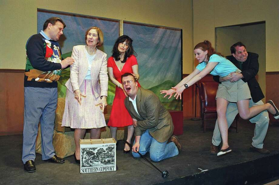 "Dickie (Tom Petrone), Muriel (Marcia Vinci), Pamela (Deborah Burke) Louise (Sarah Smegal) and Henry (Kevin Mc Donough) react as Justin (Morgan Flagg) falls to his knees with a broken arm. These comedy actors will lead audiences on a madcap adventure about love, life and manís eternal love affair with golf in the Town Players of New Canaanís production of Ken Ludwig's ""The Fox on the Fairway."" Photo: Contributed"