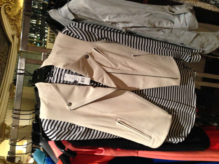 A Theory blouse and vest combines two of spring's favorite trends: pastel leather and black and white stripes.
