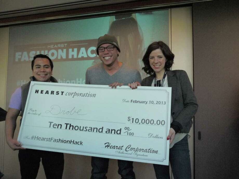Hearst Fashion Hack winners Alan Garcia (from left), Robby Abaya and Melissa Feudi took the grand prize of $10,000 and a mentorship with Hearst Digital Media for their app. Photo: Michael Quintanilla, San Antonio Express-News