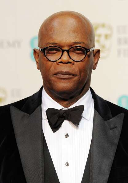 Presenter Samuel L. Jackson poses in the press room at the EE British Academy Film Awards at The Roy