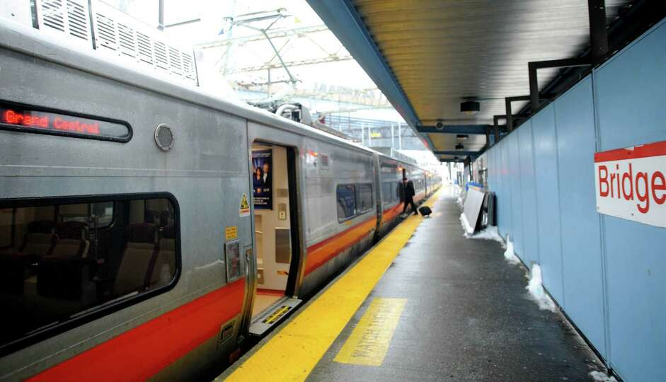 Commuters catching the morning trains from Bridgeport, Conn. to Grand Central Station on Monday Feb.
