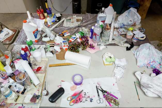 Retired art teacher Shirley Coster's supplies used to build her papier mâché Mardi Gras floats at the Bayou Manor retirement community, Wednesday, Feb. 6, 2013, in Houston. Photo: Michael Paulsen, Houston Chronicle / © 2013 Houston Chronicle