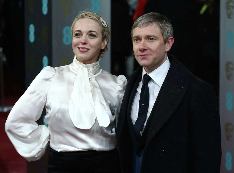 British actress Amanda Abbington and partner actor Martin Freeman pose on the red carpet upon arrival to attend the annual BAFTA British Academy Film Awards at the Royal Opera House in London on February 10, 2013.  AFP PHOTO/ANDREW COWIE Photo: ANDREW COWIE, AFP/Getty Images / AFP