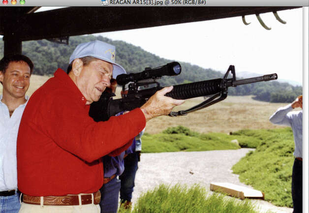 Ronald Reagan firing his Colt AR-15 with Richard Feldman, then head of the firearm industry trade association.  The photograph was taken in June 1992 at the Reagan ranch in Santa Barbara, CA.