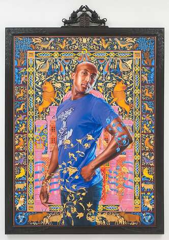 Kehinde Wiley, Alios Itzhak (The World Stage: Israel), 2011.  Oil and gold enamel on canvas, 115   x 80 ⅛ in. (framed). Photo: Jewish Museum, New York