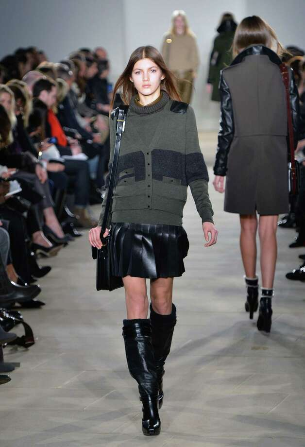 A model walks the runway at the Belstaff fall 2013 fashion show during Mercedes-Benz Fashion Week at IAC Headquarters on February 11, 2013 in New York City. Photo: Slaven Vlasic, Getty Images / 2013 Getty Images