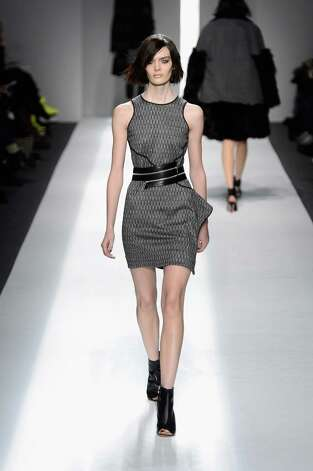 A model walks the runway at the ICB By Prabal Gurung Fall 2013 fashion show during Mercedes-Benz Fashion Week at Lincoln Center on February 11, 2013 in New York City. Photo: Frazer Harrison, (Credit Too Long, See Caption) / 2013 Getty Images
