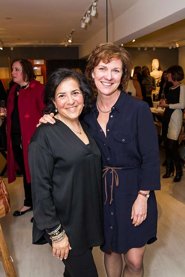 Hudson Grace co-owner Monelle Totah (left) with McCall Associates executive Lee Gregory at the Eric Cohler book party. Photo: Drew Altizer, Special To The Chronicle