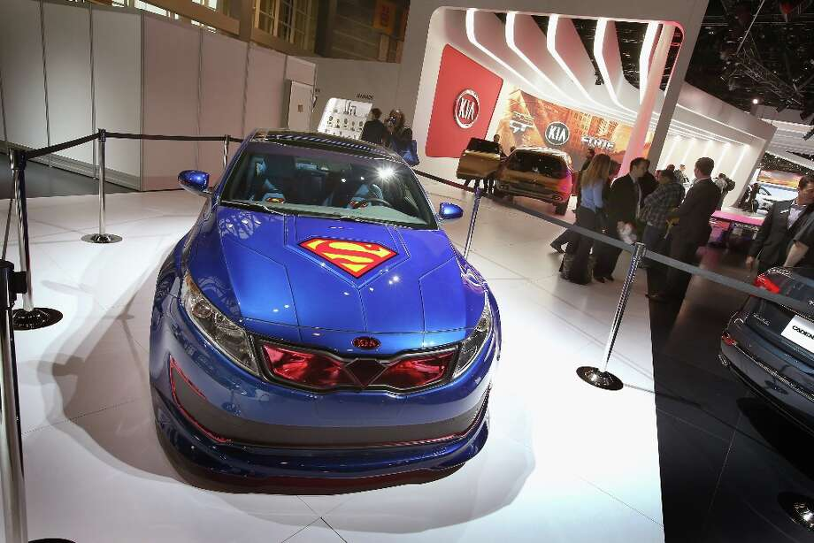 CHICAGO, IL - FEBRUARY 07:  Kia displays the DC Comics Superman Edition Optima Hybrid at the Chicago Auto Show on February 7, 2013 in Chicago, Illinois. The Chicago Auto Show, one of the oldest and largest in the country, will be open to the public February 9-18. Photo: Scott Olson, Getty Images / 2013 Getty Images