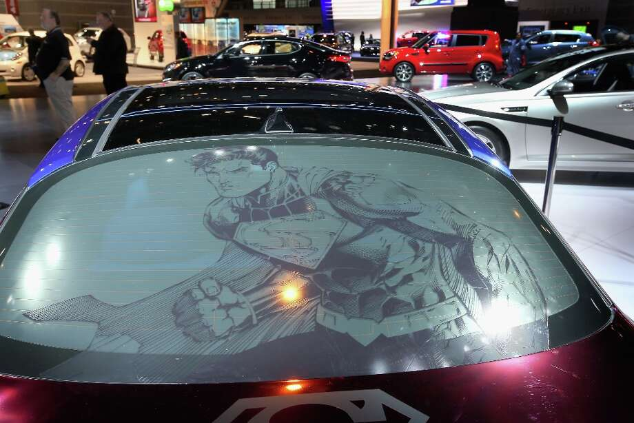 CHICAGO, IL - FEBRUARY 07: Superman in shown in the rear window of the Kia DC Comics Superman Edition Optima Hybrid at the Chicago Auto Show on February 7, 2013 in Chicago, Illinois. The Chicago Auto Show, one of the oldest and largest in the country, will be open to the public February 9-18. Photo: Scott Olson, Getty Images / 2013 Getty Images