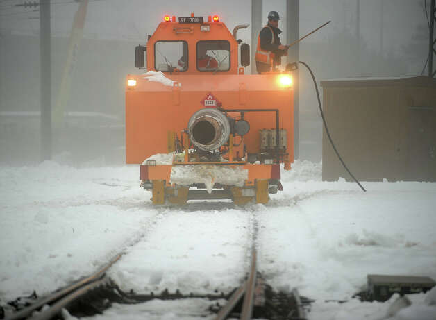 A jet-powered snow blower is fueled up at the Metro North railyards at Union Station in New Haven, Conn. on Monday, February 11, 2013. Photo: Brian A. Pounds / Connecticut Post