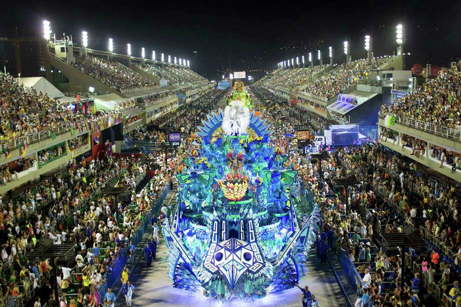 Performers from the Portela samba school parade during carnival celebrations at the Sambadrome in Rio de Janeiro, early Monday, Feb. 11, 2013. Photo: AP