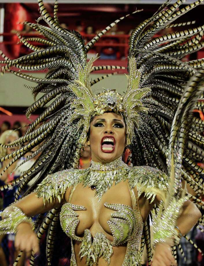 Performers from the Portela samba school parade during carnival celebrations at the Sambadrome in Rio de Janeiro, Monday, Feb. 11, 2013. Photo: AP
