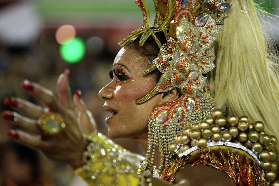 Performers from the Uniao da Ilha do Governador samba school participate in carnival celebrations at the Sambadrome in Rio de Janeiro, Monday, Feb. 11, 2013. Photo: AP