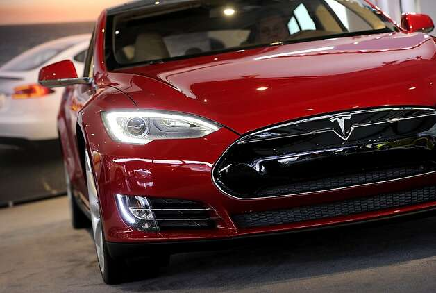 A Tesla Motors Inc. vehicle is displayed during the 2013 North American International Auto Show (NAIAS) in Detroit in January. Photo: David Paul Morris, Bloomberg