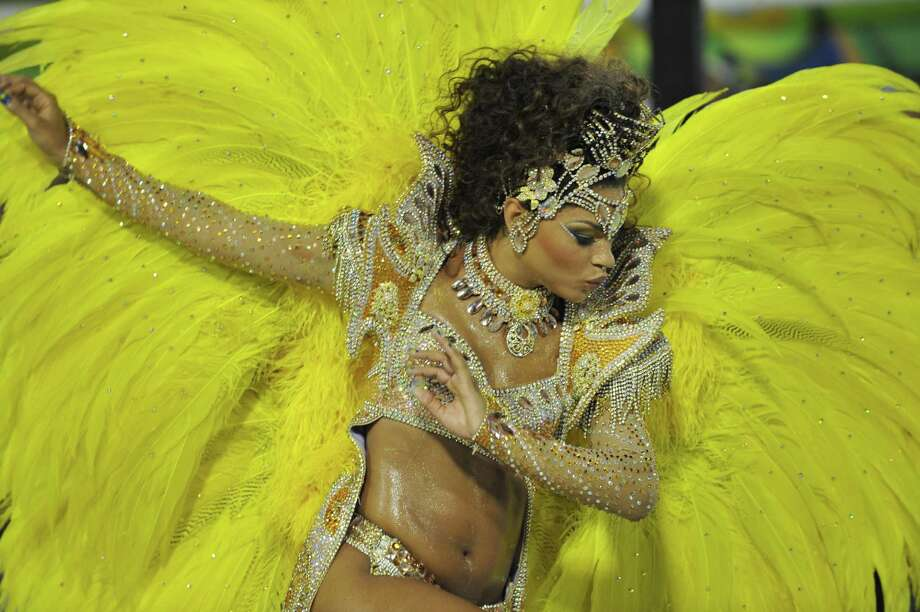 Brazilian TV star Juliana Alves of Unidos da Tijuca samba school performs during the first night of Carnival parade at the Sambadrome in Rio de Janeiro on February 11, 2013.   AFP PHOTO / VANDERLEI ALMEIDA Photo: Getty