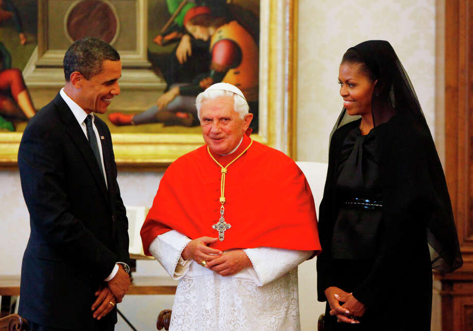 FILE - This July 10, 2009 file photo shows President Barack Obama and first lady Michelle Obama meeting with Pope Benedict XVI, at the Vatican. Pope Benedict XVI said Monday, Feb. 11, 2013 he lacks the strength to fulfill his duties and on Feb. 28 will become the first pontiff in 600 years to resign. The announcement sets the stage for a conclave in March to elect a new leader for world's 1 billion Catholics. (AP Photo/Haraz N. Ghanbari, file) Photo: Haraz N. Ghanbari, Associated Press / AP