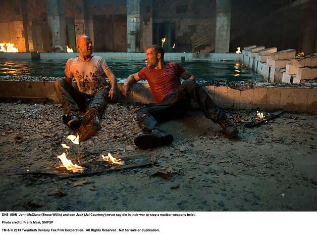 The story line of father and son McClanes, played by Bruce Willis (left) and Jai Courtney, adds false sentiment to the franchise. Photo: Frank Masi, SMPSP, Twentieth Century Fox