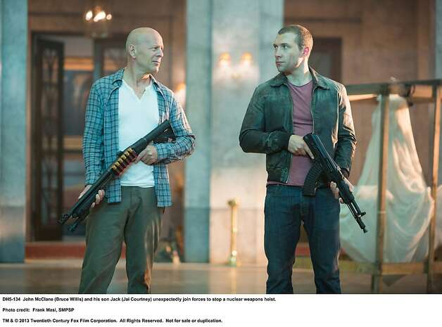 A GOOD DAY TO DIE HARD  John McClane (Bruce Willis) and his son Jack (Jai Courtney) unexpectedly join forces to stop a nuclear weapons heist.  Photo Credit: Frank Masi, SMPSP  TM & © 2013 Twentieth Century Fox Film Corporation.  All Rights Reserved.  Not for sale or duplication. Photo: Frank Masi, SMPSP, Twentieth Century Fox