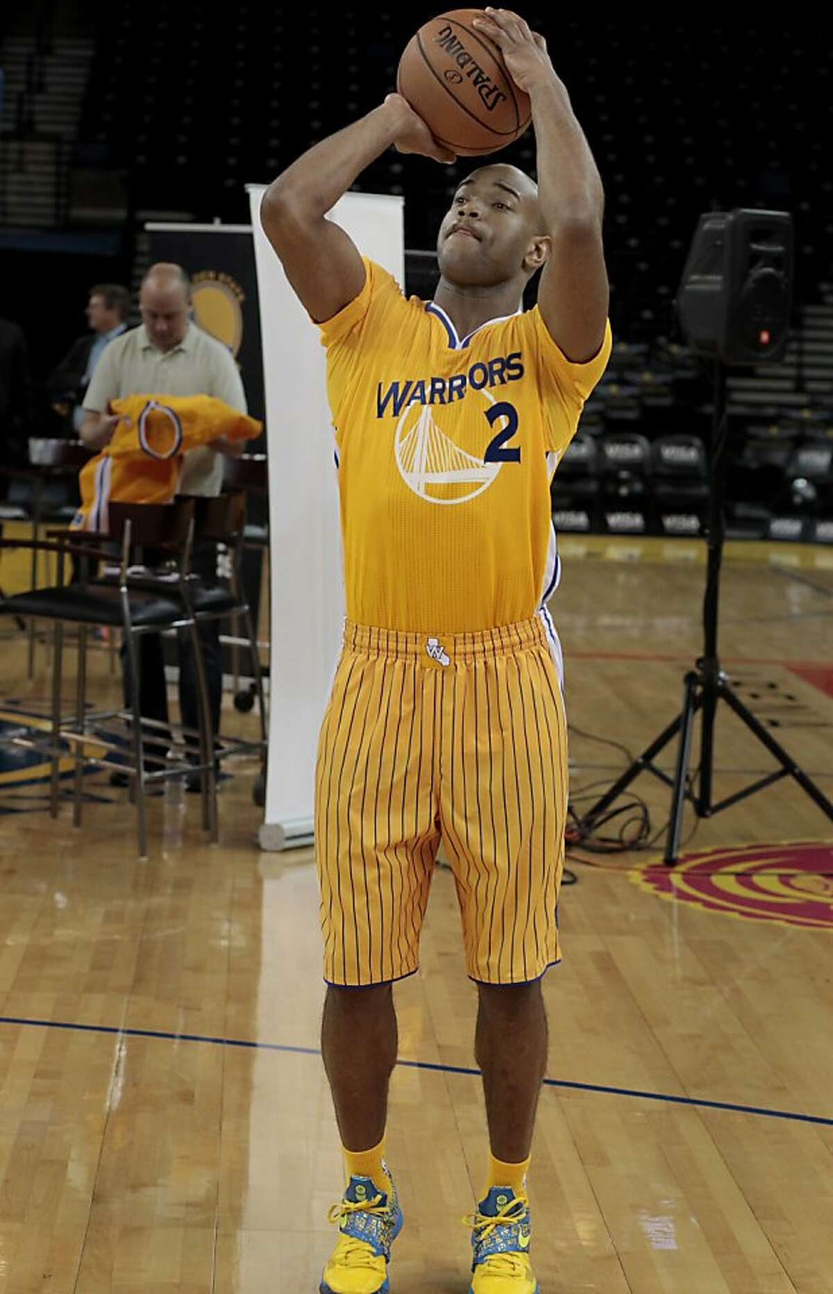 The Warriors Jarrett Jack took some shot in the new uniform. The Golden State Warriors and Adidas unveiled a new lightweight uniform for the team Monday February 11, 2013. The adizero short sleeve NBA uniform is 26 percent lighter than the current uniforms.