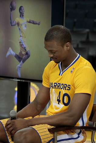 Warriors rookie Harrison Barnes likes the new short sleeve look and feel. The Golden State Warriors and Adidas unveiled a new lightweight uniform for the team Monday February 11, 2013. The adizero short sleeve NBA uniform is 26 percent lighter than the current uniforms. Photo: Brant Ward, The Chronicle