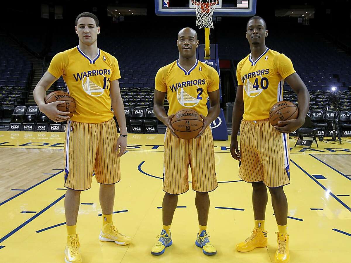 Three members of the Warriors, (l-r): Clay Thompson, Jarrett Jack and Harrison Barnes showed off the new short sleeve look. The Golden State Warriors and Adidas unveiled a new lightweight uniform for the team Monday February 11, 2013. The adizero short sleeve NBA uniform is 26 percent lighter than the current uniforms.