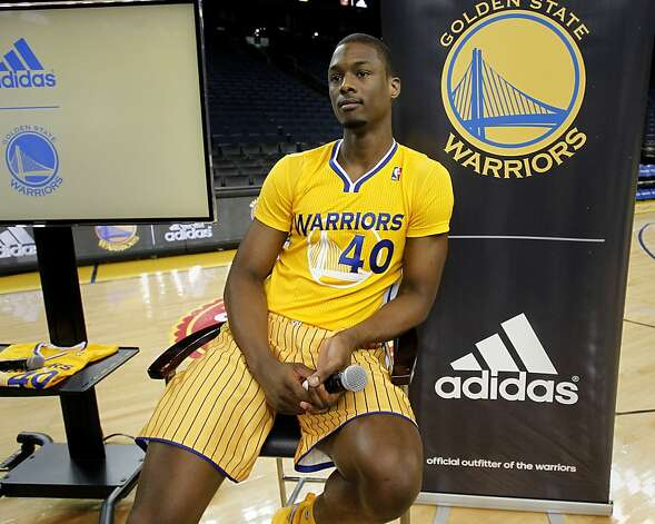 Warriors rookie Harrison Barnes was the first to unveil the new uniform. The Golden State Warriors and Adidas unveiled a new lightweight uniform for the team Monday February 11, 2013. The adizero short sleeve NBA uniform is 26 percent lighter than the current uniforms. Photo: Brant Ward, The Chronicle