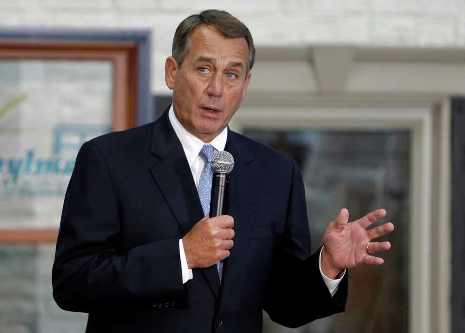 House Speaker John Boehner of Ohio takes questions from employees after a tour of Vinylmax LLC, Monday, Feb. 11, 2013, in Hamilton, Ohio. Vinylmax is a top window producing company. (AP Photo/Al Behrman) Photo: Al Behrman