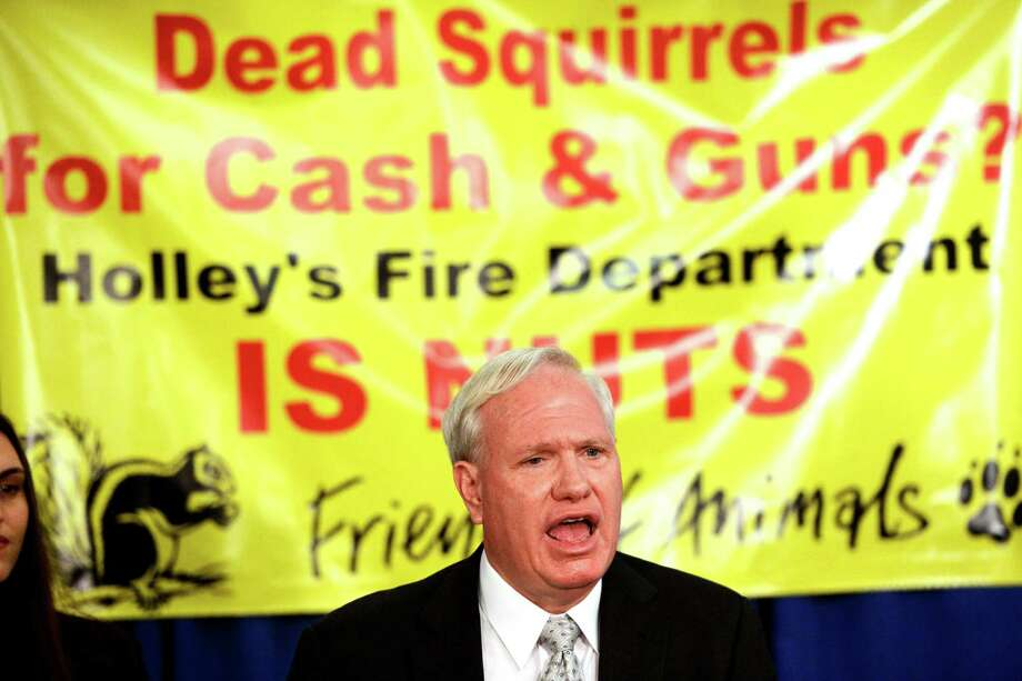 Senator Tony Avella 11S.D. speaks at a press conference Feb. 11, 2013, at the Legislative Office Building in Albany, N.Y.,  to bring attention to his protest of an annual squirrel hunting contest held by the Holley Fire Department as a fund raiser.    (Skip Dickstein/Times Union) Photo: SKIP DICKSTEIN / 00021112A
