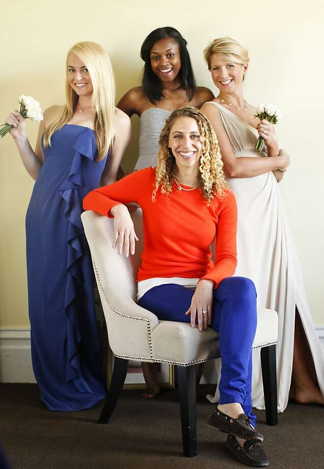 Stanford Business School graduate Ilana Stern, seated, founded Weddington Way, a site that helps brides and bridesmaids choose and order dresses.  Stern is seen with members of her staff including Operations Assistant Alex D'Antonio, Director of Customer Experience Vanessa Motley, and Stylist Lindsay Schmulen on Wednesday, Feb. 6, 2013 in San Francisco, Calif. Photo: Russell Yip, The Chronicle