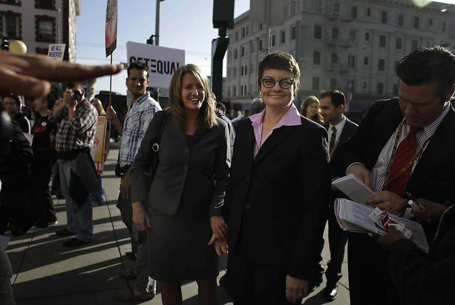 Sandy Stier (left) and Kris Perry were one of two couples who sued to overturn Proposition 8, the 2008 state initiative that defined marriage as being between a man and a woman. Photo: Lea Suzuki, The Chronicle