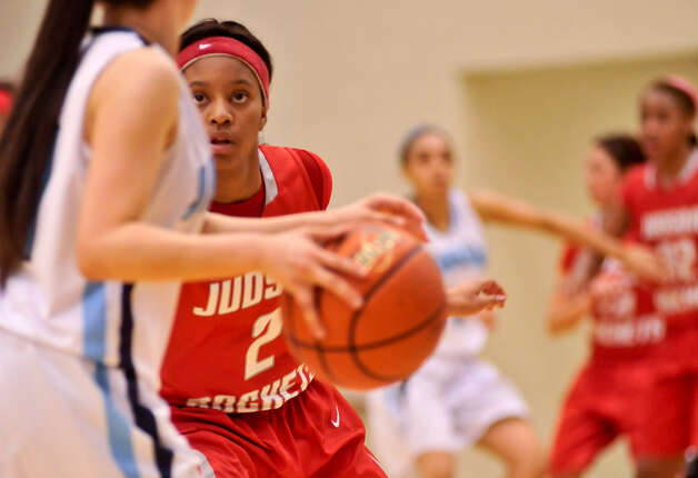 Judson's Lena Wilson (2) applies defensive pressure against a Johnson player in their 5A bidistrict game. Photo: Robin Jerstad / For The Express-News